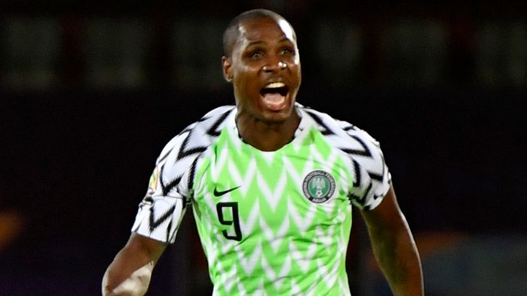 Nigeria's forward Odion Ighalo celebrates after scoring a goal during the 2019 Africa Cup of Nations (CAN) third place play-off football match between Tunisia and Nigeria at the Al Salam stadium in Cairo on July 17, 2019. (Photo by Khaled DESOUKI / AFP) (Photo credit should read KHALED DESOUKI/AFP via Getty Images)