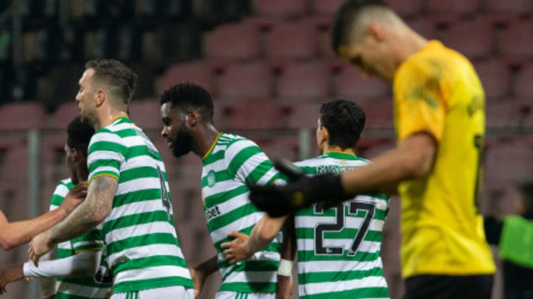 Odsonne Edouard is congratulated after scoring what proved a priceless goal for Celtic against Sarajevo