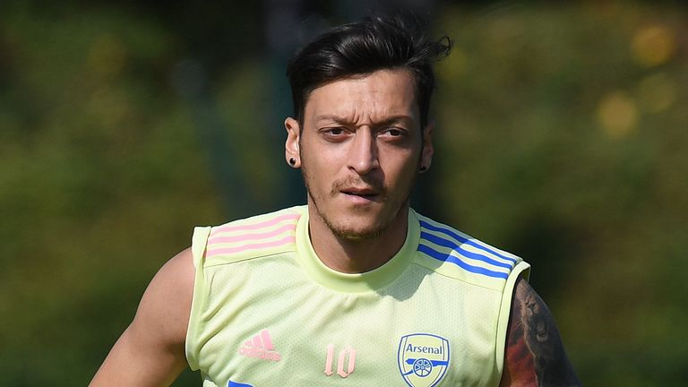 Mesut Ozil of Arsenal during a training session at London Colney on September 22, 2020 in St Albans, England.