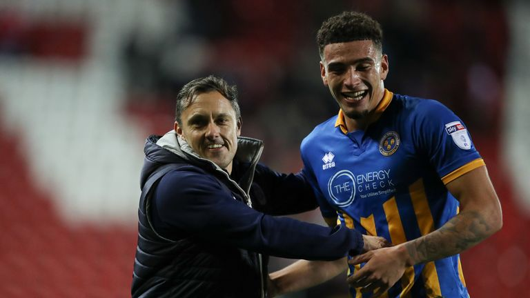 Paul Hurst and Ben Godfrey of Shrewsbury Town celebrate at full time during the Sky Bet League One match between Rotherham United and Shrewsbury Town at The New York Stadium on November 16, 2017