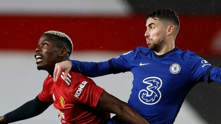 Paul Pogba and Jorginho compete for the ball in Manchester United's game against Chelsea at Old Trafford in October 2020