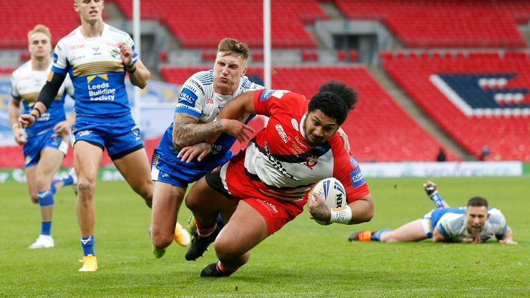 Pauli Pauli crashes through for a second-half try for Salford