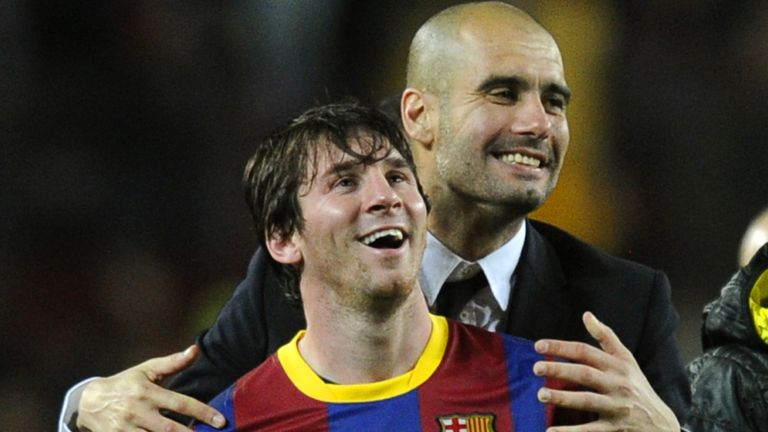 Pep Guardiola with Lionel Messi in 2011