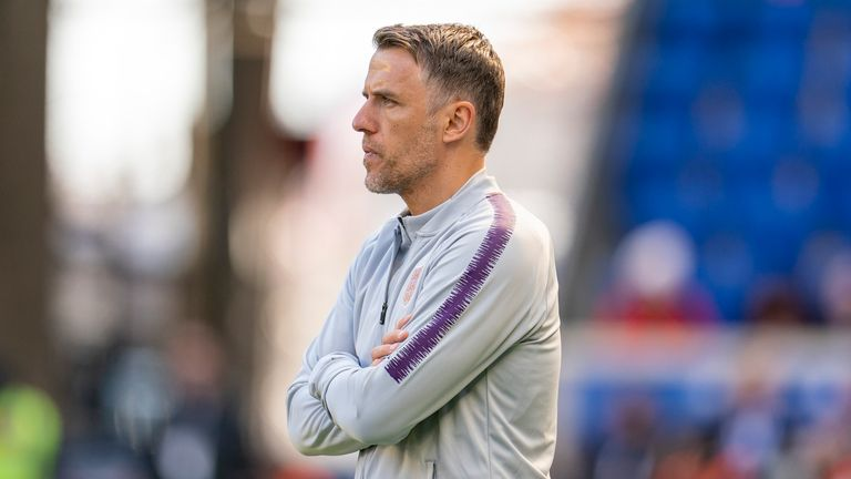 England Women head coach Phil Neville looks on at the SheBelieves Cup