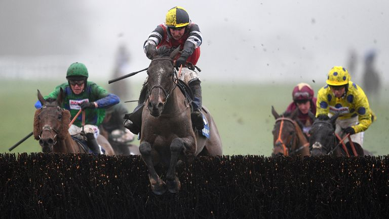 Potters Corner ridden by Jack Tudor jumps the last before going on to win the Coral Welsh Grand National Handicap Chase at Chepstow