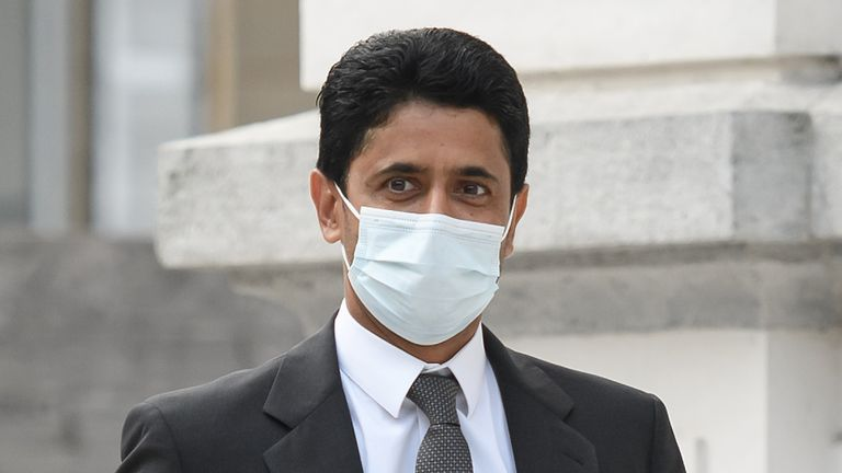 paris Saint-Germain chief Nasser Al-Khelaifi arrives at the Swiss Federal Criminal Court prior to the opening of a corruption trial of PSG president Nasser Al-Khelaifi and FIFA ex-secretary general Jerome Valcke on September 14, 2020 in Bellinzona, southern Switzerland.