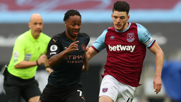 Raheem Sterling and Declan Rice in Premier League action