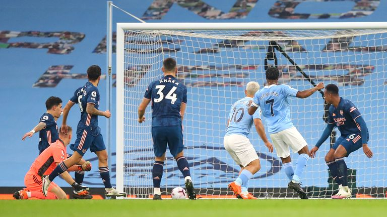 Raheem Sterling puts Man City in front