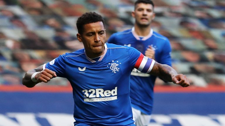 Rangers skipper James Tavernier celebrates opening the scoring in the victory over Ross County