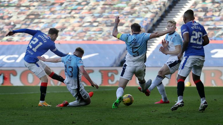 Brandon Barker fires in Rangers second goal against Ross County
