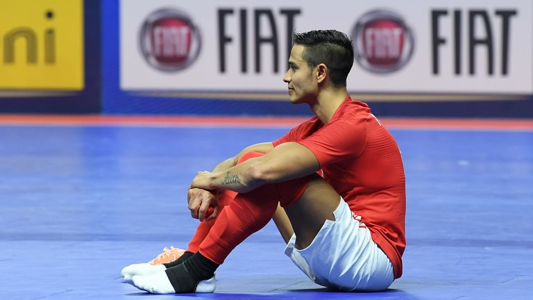Raoni Medina of Englan stands disappointed after the 2020 FIFA Futsal World Cup Main Round Group 4 match between Italy and England on October 25, 2019 in Eboli, Italy.