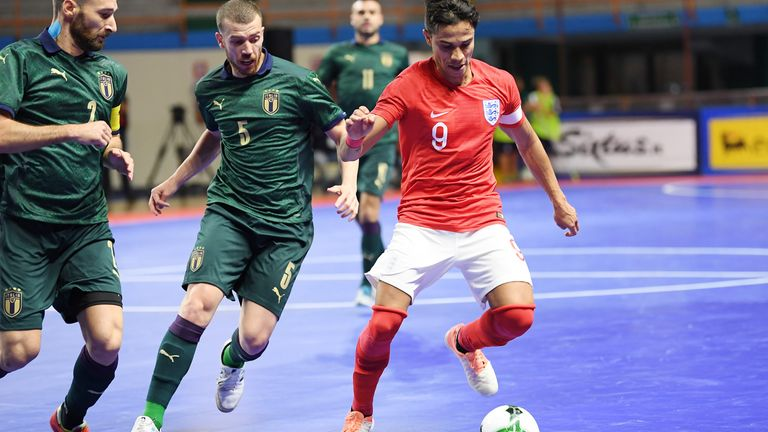 Diego Cavinato of Italy vies with Raoni Medina of England during the 2020 FIFA Futsal World Cup Main Round Group 4 match between Italy and England on October 25, 2019 in Eboli, Italy