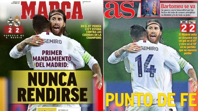 Spanish paper Marca leads with 'Never give up - the first commandment of Madrid', while AS headlines 'A point from faith'