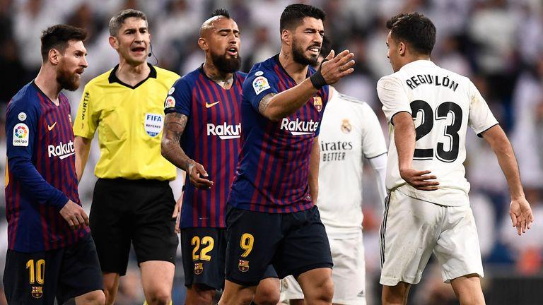 Reguilon clashed with Luis Suarez during a 2019 Clasico
