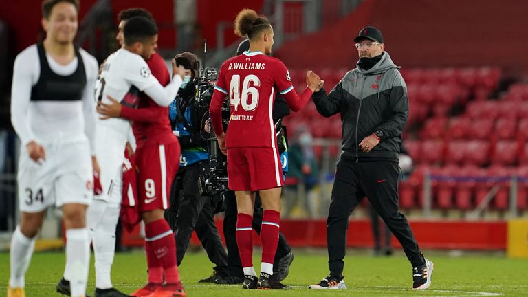 Jurgen Klopp congratulated Rhys Williams after the youngster's solid performance in their 2-0 win over Midtjylland