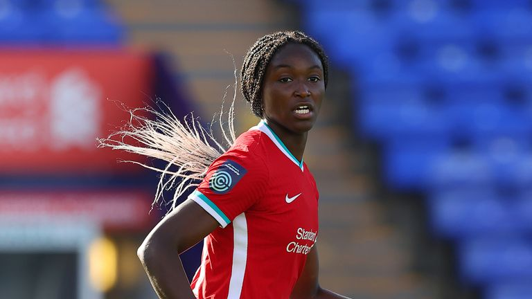 Rinsola Babajide of Liverpool Women during the FA Women's Continental League Cup match between Liverpool FC Women and Manchester United Women at Prenton Park on October 7, 2020 in Birkenhead, England