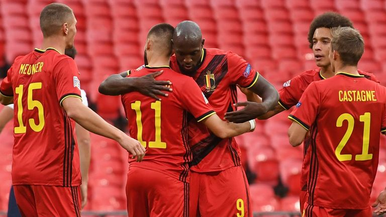Romelu Lukaku celebrates after giving Belgium the lead from the penalty spot at Wembley