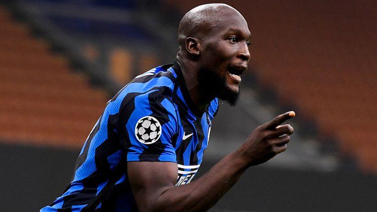 Romelu Lukaku celebrates a goal for Inter Milan
