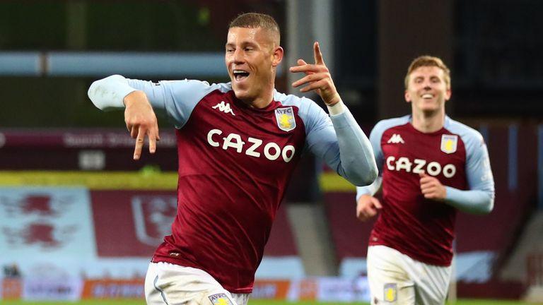 Barkley celebrates scoring in Villa's recent 7-2 win over Liverpool