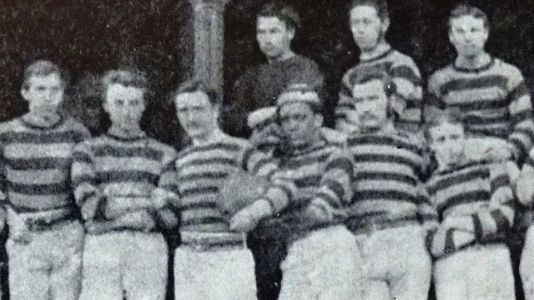 James G Robertson (third from right) is flanked by Scottish internationals Angus Buchanan (L) and Alexander Petrie (R)