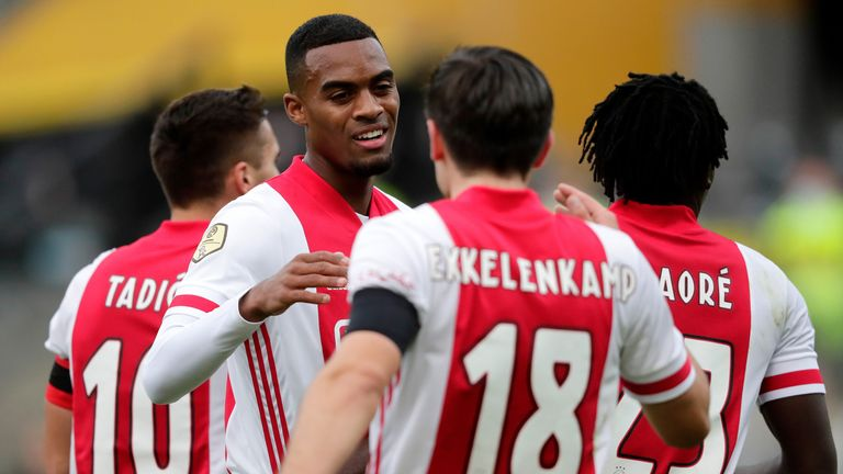 Ryan Gravenberch celebrates Ajax's opener
