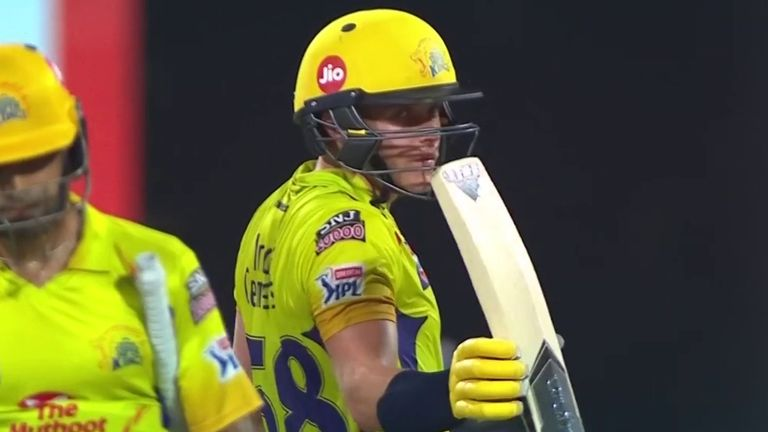 Sam Curran celebrates reaching his second IPL fifty and first for Chennai Super Kings
