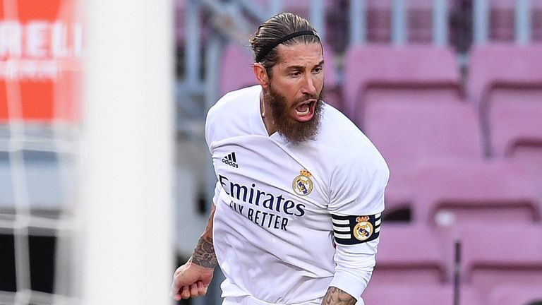 Sergio Ramos celebrates scoring Real Madrid's second goal of the game