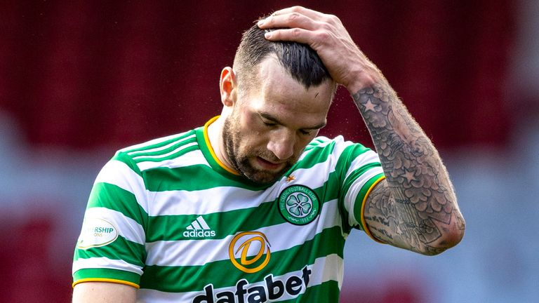 Celtic's Shane Duffy at full time following the 3-3 draw against Aberdeen