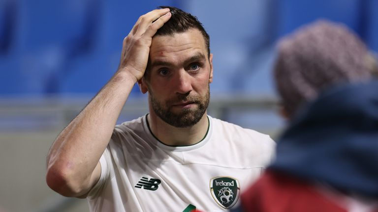 Shane Duffy couldn't hide his disappointment after the shootout defeat