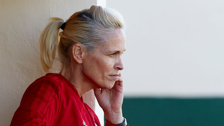 Shelley Kerr, coach of Scotland looks on prior to the Women's International Friendly match between Scotland and Iceland at la Manga Club on January 21, 2019 in La Manga, Spain.