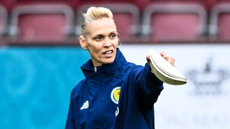 Scotland Women head coach Shelley Kerr during a training session at Tynecastle