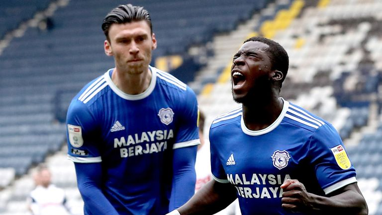 Cardiff City's Sheyi Ojo celebrates scoring against Preston