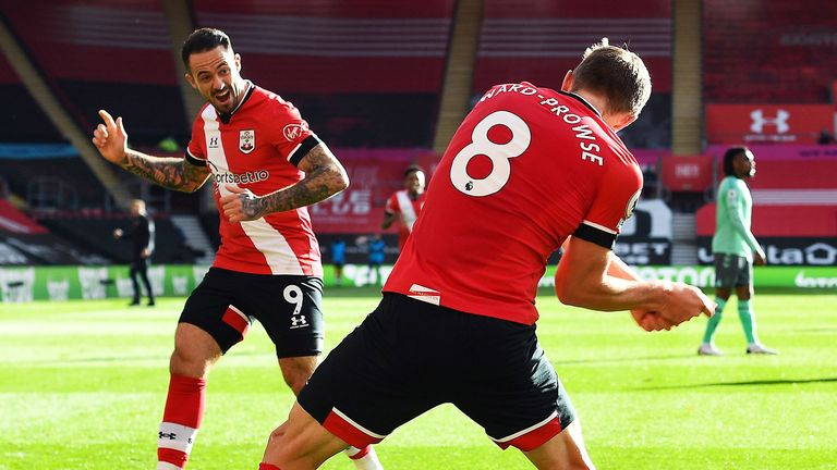 James Ward-Prowse and Danny Ings celebrate against Everton