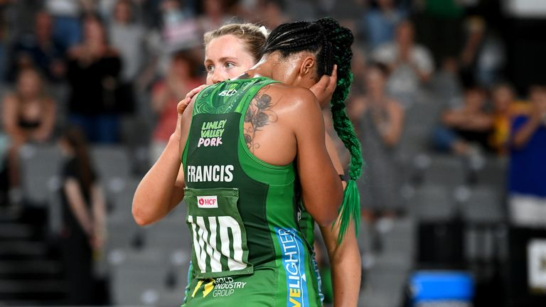 Stacey Francis showing her despair after losing the Grand Final