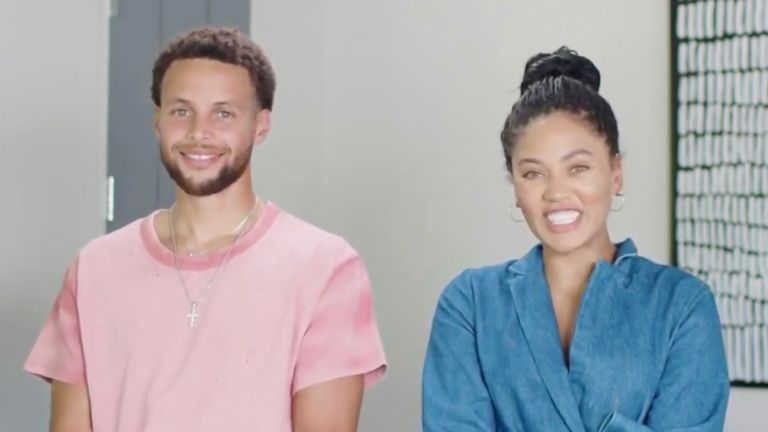 NBA star Stephen Curry and his wife Ayesha Curry address the virtual 2020 Democratic National Convention