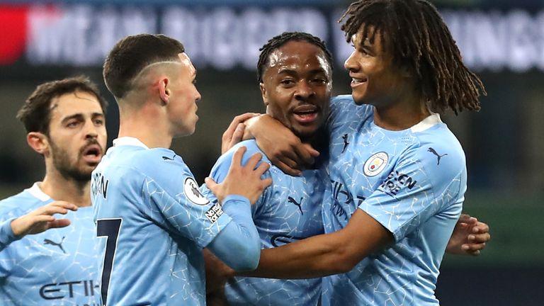 Raheem Sterling celebrates after scoring the winner
