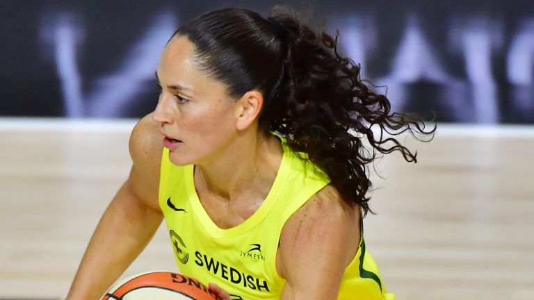 Sue Bird controls possession during Seattle's Game 2 win over Las Vegas in the WNBA Finals