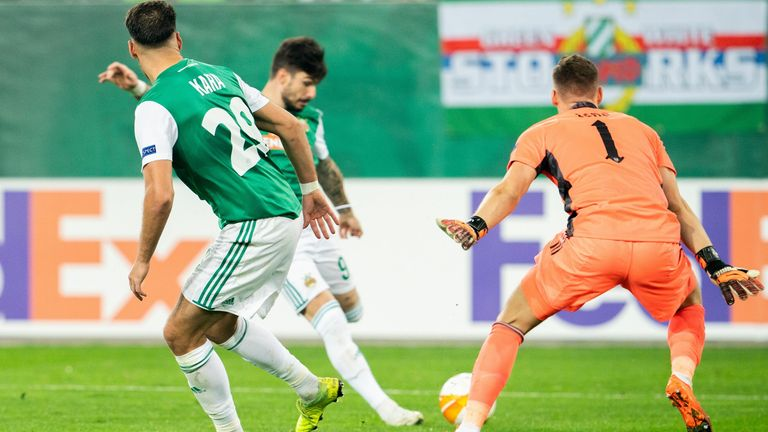 Rapid Vienna's Taxiarchis Fountas netted the opener after a Bernd Leno howler