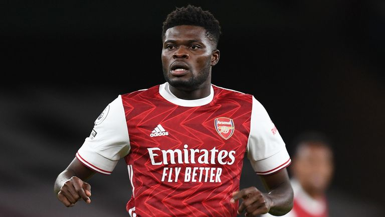 Thomas Partey in action for Arsenal against Leicester