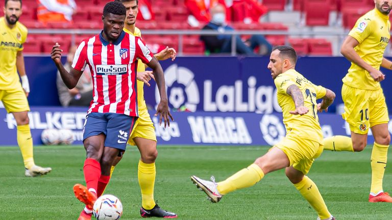 Thomas Partey in action for Atletico Madrid against Villarreal this season