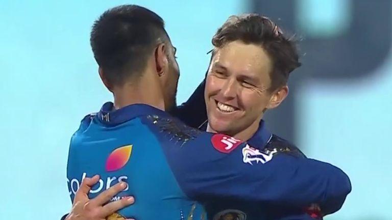 Trent Boult celebrates taking the wicket of CSK's Ravindra Jadeja