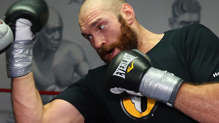 Tyson Fury in action during a training session at Team Fury Gym on November 6, 2014 in Bolton, England.