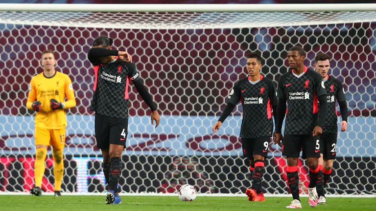 Virgil van Dijk and his Liverpool teammates look dejected as they concede a fourth goal