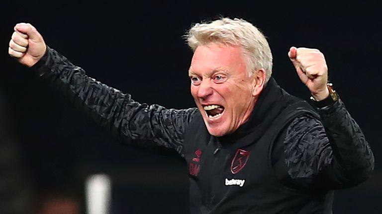 David Moyes celebrates West Ham's late equaliser at Tottenham