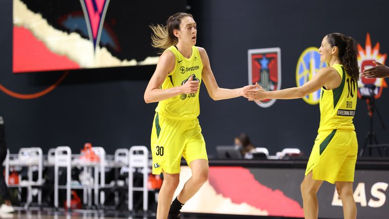 Breanna Stewart top-scored with 22 points as the Seattle Storm took a 2-0 lead against the Las Vegas Aces in the WNBA Finals.