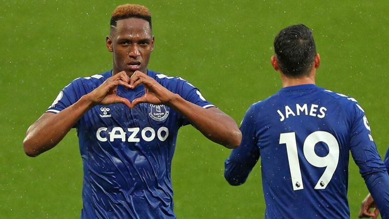 Yerry Mina celebrates after restoring Everton's lead