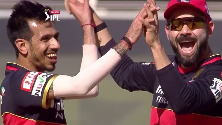 Yuzvendra Chahal and Virat Kohli celebrate two wickets in as many balls