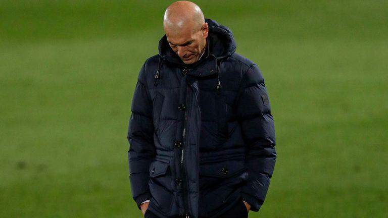Zinedine Zidane looks dejected during Wednesday night's shock defeat