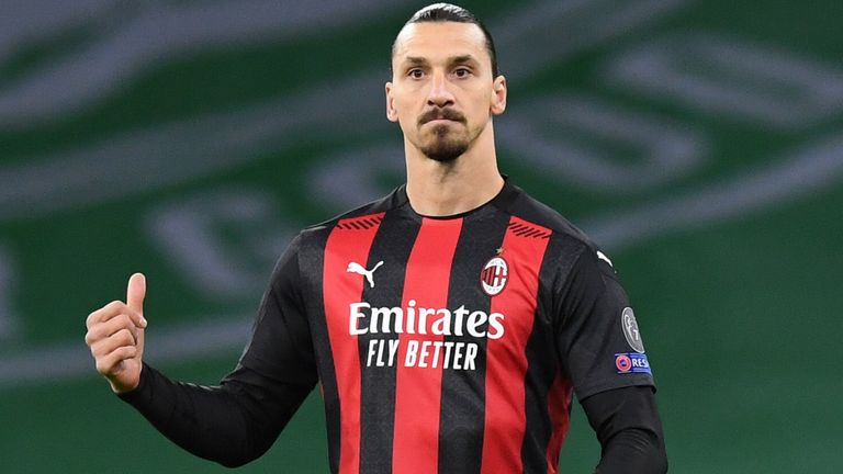 Zlatan Ibrahimovic in action for AC Milan during the UEFA Europa League match between Celtic and AC Milan at Celtic Park