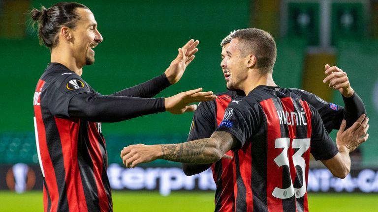 Zlatan Ibrahimovic celebrates with team-mates during AC Milan's match at Celtic